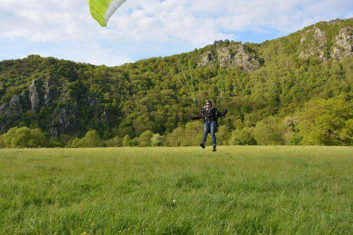 Paragliding Landing, Paraglider Arises, Fly