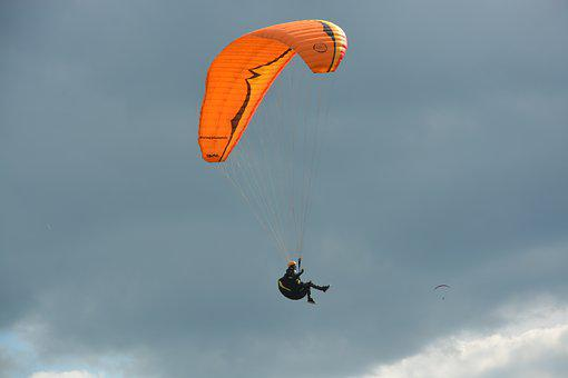 Paragliding, Paraglider, Sailing Orange, Wing Orange