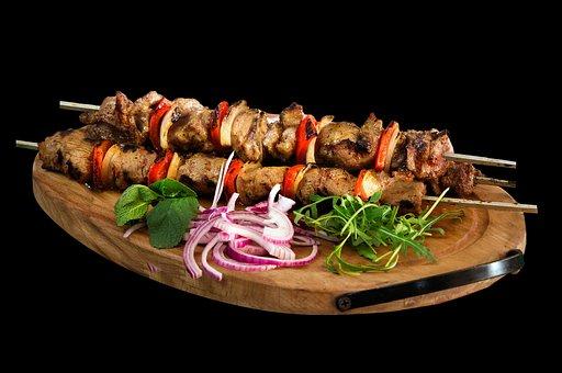 Skewer, Kebab, Barbecue, Food, Meat, Restaurant, Plate