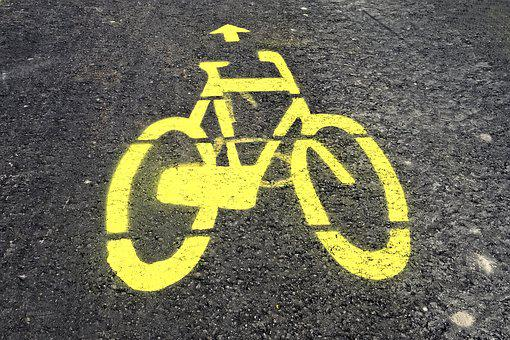 Bicycle, Bike, Vehicle, Road, Icon, Drawing, Picture