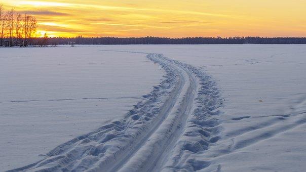 Winter, Nature, Snow, Frost, Ice, Ski, Sunset, Lake