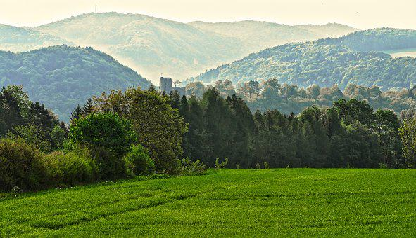 Plateau, Mountains, Landscape, Haze, Morning, Trees