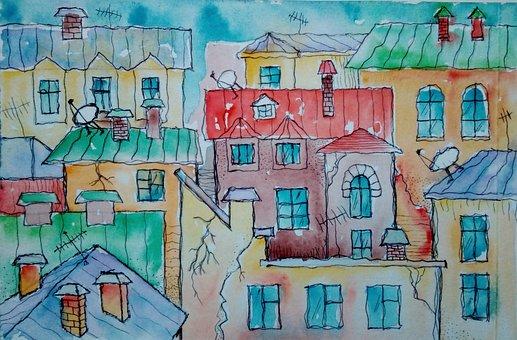 Roof, House, Figure, Watercolor, Art, Illustration