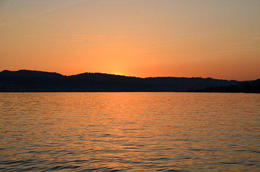 Sunset, Waters, Lake Zurich, Lake, Dusk, Sky, Landscape