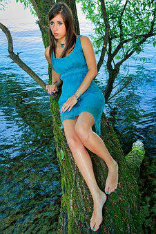Summer, Waters, Nature, Ease, Woman, Feet, Naked, Tree