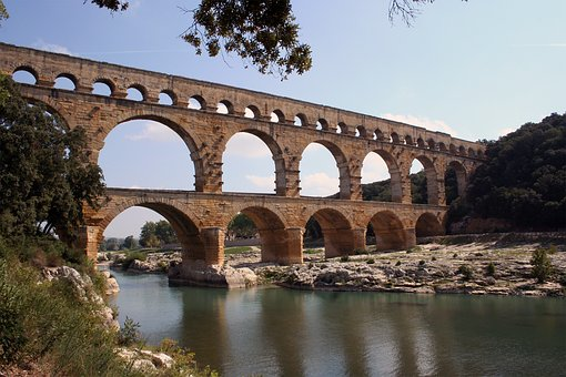 Bridge, Architecture, Travel, River, Pont Du Gard