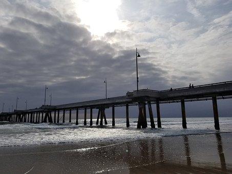 Water, Pier, Sea, Beach, Sunset, Seashore, Dawn, Sky
