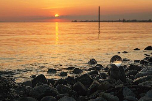 Sunset, Sea, Beach, Coast, Lake Constance, Lindau