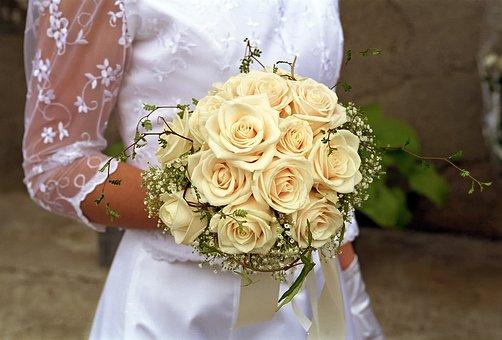 Wedding, Bride, Bouquet, Flower, Romantic