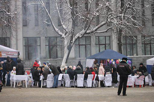 Bryansk, Carnival, Holiday, Russia, Area, Food, Table
