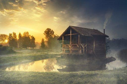 Hut, Lake, Water, Water Reflection, Landscape, Sunrise