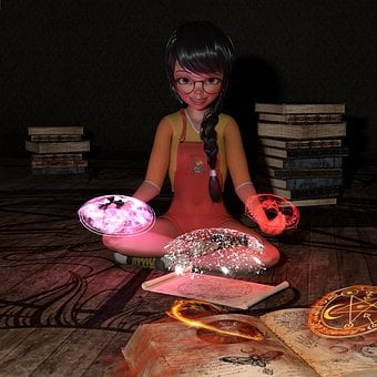 Girl, Books, Magic, Spells, Witches, Portrait, Beauty