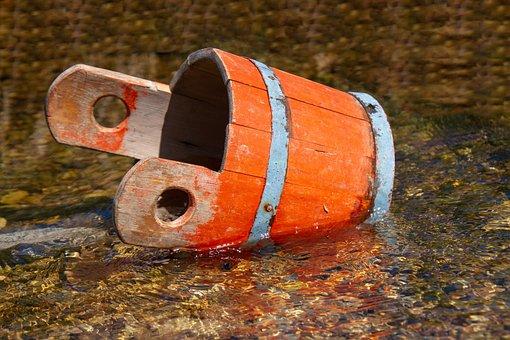 Wooden Bucket, Water, Wood, Bucket, Orange, Colorful