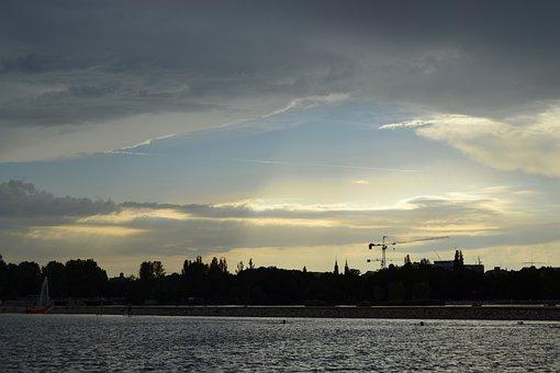 Waters, Panorama, Nature, Sky, Sunset, Landscape, Lake