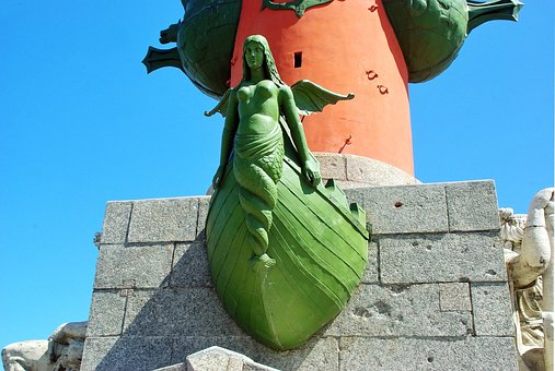 Russia, St Petersburg, Vasilevsky Island, Column
