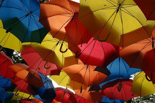 Umbrellas, Multi Coloured, Screen, Roof