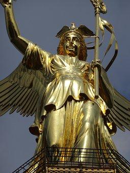 Statue, Sculpture, Golden, Art, Siegessäule, Berlin