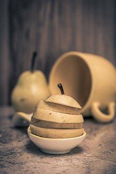 Organic Pear, Slices Of Fresh Pear, Organic, Food