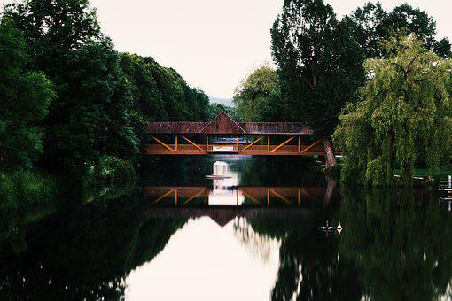 Waters, Tree, Lake, Reflection, River, Wood, Bridge