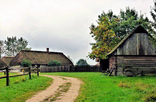 Grange, House, Farm, Wood, Rustic, Rural, At The Age Of