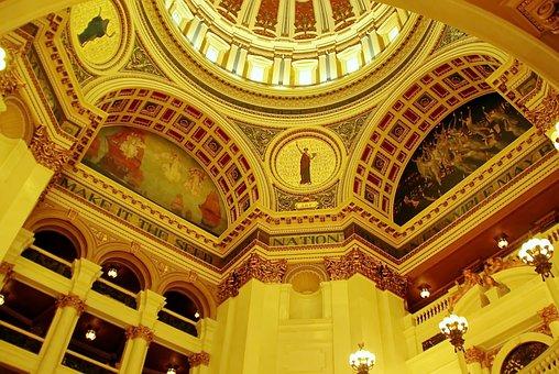 Usa, Pennsylvania, Capitol, Rotunda, Dome, Decoration