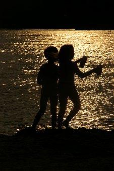 Beach, Silhouette, Two, Children, Evening Sun, Play
