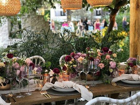 Table, Patio, Flower, Garden, Wedding Table