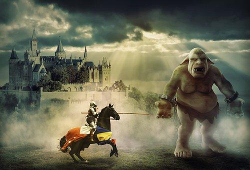 Knight, Troll, Fantasy, Held, Monster, Castle