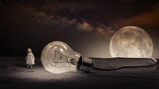 Moon, Stars, Sky, Flash, Light, Planets, Photoshop