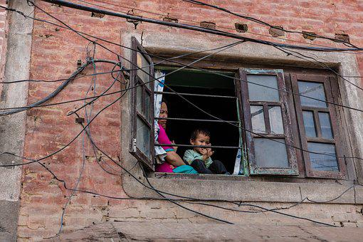 Nepal, Kathmandu, Fenstergucker, Woman, Child, Window