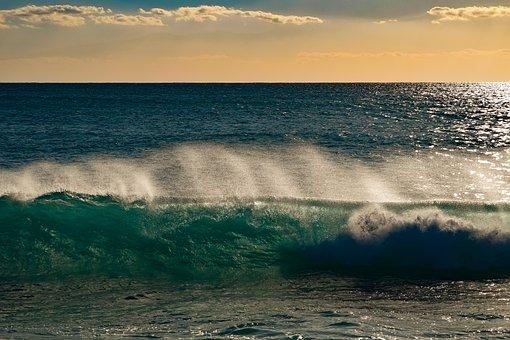 Water, Sea, Ocean, Wave, Surf, Horizon, Sky, Clouds