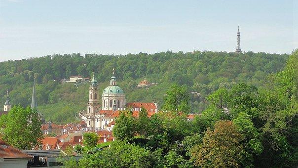 Panorama, Prague, Czechia, Architecture, Church