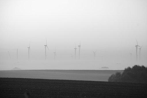 Sea, Fog, Waters, Industry, Energy, Wind, Landscape