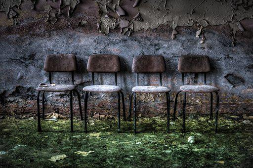 Abandoned, Old, Wood, Wall, Seat, Three, Moss, Wet