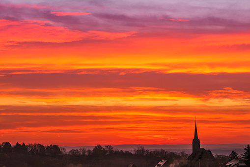 Sunset, Dawn, Dusk, Sky, Afterglow, Winter, Orange