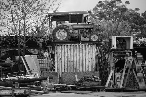Scrap, Bus, Tractor, Black And White, Monochrome Broken