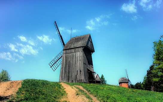 Windmill, Farm, Sky, Lawn, Nature, Landscape