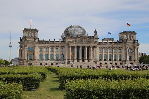 Germany, Berlin, Reichstag, Flags, Cloud, Sky