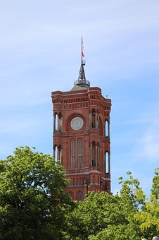Red Town Hall, Tower, Clock, Clock Tower, Berlin