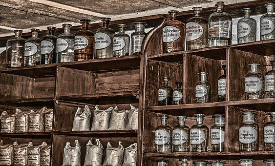 Pharmacy, Antique, Old, Chemicals, Bottles