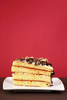 Dessert, Baking, Cake, A Piece Of, Incision, Layered