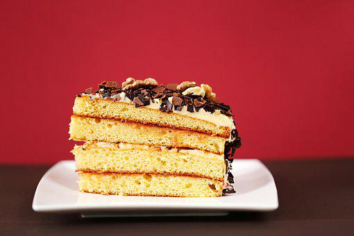 Dessert, Cake, A Piece Of, Incision, Layered, Chocolate