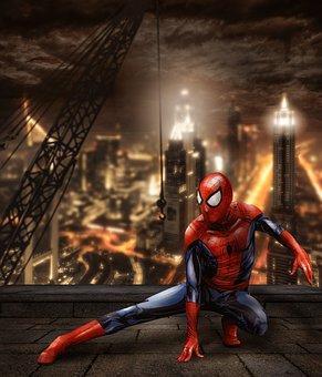 Spiderman, Superhero, Comic, City, Skyline, Skyscrapers