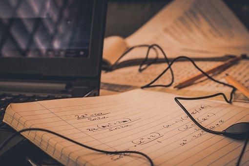 Homework, Paper, Business, Desktop, Earphones, Pencils