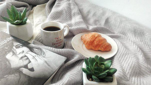 Coffee, Book, Reading, Croissant, Food, Dessert