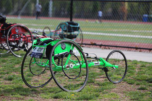Wheel, Race Wheelchair, Track, Field, Green, Disability