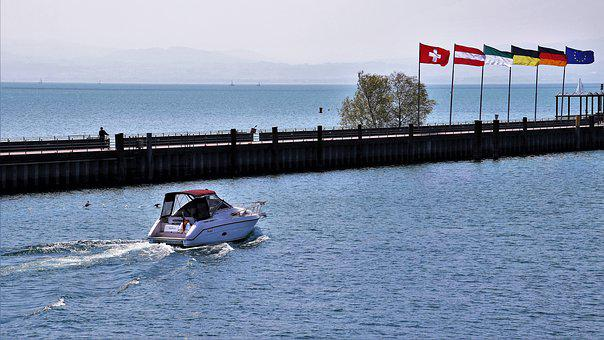 Lake, Bodensee, Flag, Wind, Beach, The Pier, Water