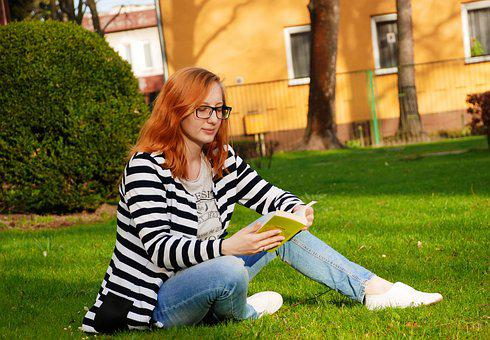 Grass, Woman, Book, Park, Read, Grown Up, People, Girl