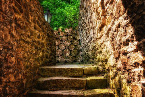 Stairs, Stone, Castle, Middle Ages, Gradually