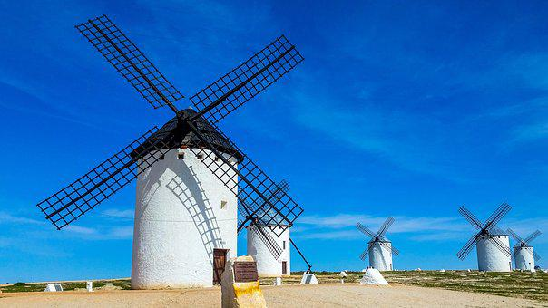 Windmill, Wind, Sky, Travel, Power, Campo De Criptana